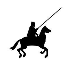 knight warrior silhouette on white background vector image