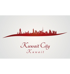 Kuwait City skyline in red vector