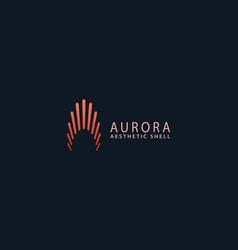 Letter a aurora red colour creative shell log vector
