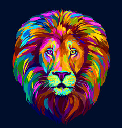 lion abstract multi-colored portrait vector image