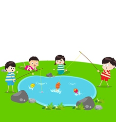 Little kid fishing vector