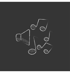 Loudspeakers with music notes drawn in chalk icon vector