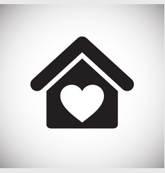 Love home icon on white background for graphic and vector