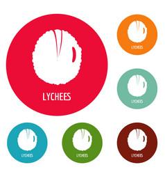 Lychee icons circle set vector