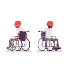 Male black young wheelchair user moving manual vector