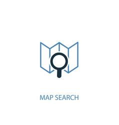 Map search concept 2 colored icon simple blue vector