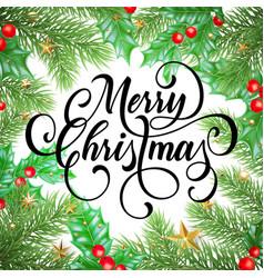 merry christmas greeting card christmas pine vector image