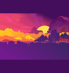 minimalistic natural landscape evening sunset vector image