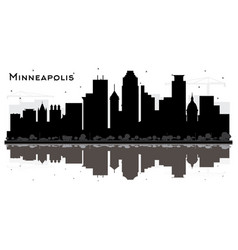 Minneapolis minnesota usa city skyline silhouette vector