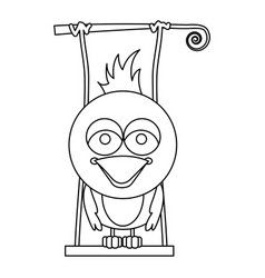Monochrome contour of caricature bird on swing vector