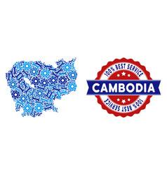 Mosaic cambodia map of repair tools vector