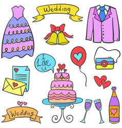 object wedding party on doodles vector image