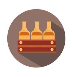 oktoberfest festival bottles beer in box vector image