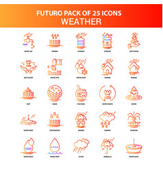 Orange futuro 25 weather icon set vector