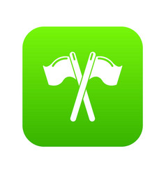 paintball sport flags icon green vector image