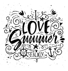 Print for T-shirt I love summer vector