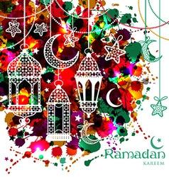 Ramadan Kareem on watercolor background vector