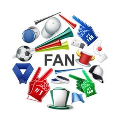 realistic fan attributes round concept vector image