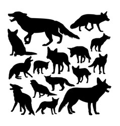 red fox animal silhouettes vector image