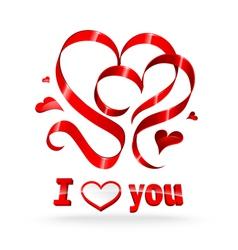 red ribbon hearts vector image