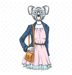 Retro hipster fashion animal koala woman model vector