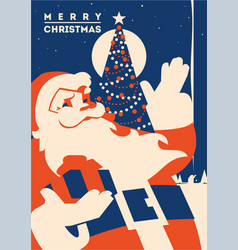 santa claus with christmas tree minimalistic vector image