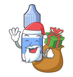 Santa with gift eye drops isolated with the vector