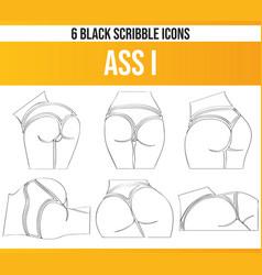 Scribble black icon set ass i vector