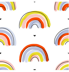 seamless pattern with cute abstract rainbows vector image