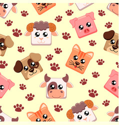Seamless pattern with farm animals cow cat dog vector