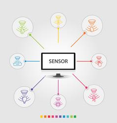 Sensor infographics design timeline vector