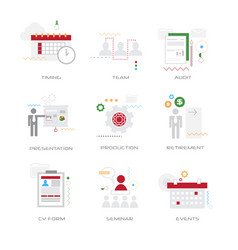set different business concepts collection flat vector image