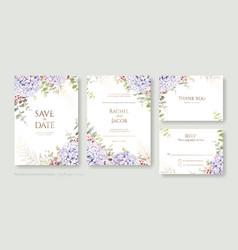 set floral wedding invitation card save vector image