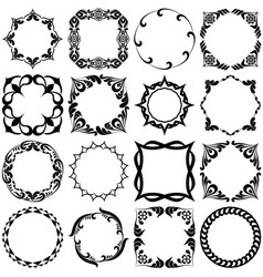 Set pattern grafic frames black and white vector