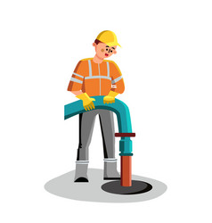 Sewer cleaning man worker plumbing service vector