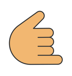 shaka hand gesture color icon vector image