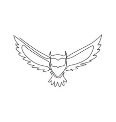 Single continuous line drawing luxury owl bird vector