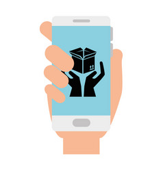 smartphone with box carton and hands protection vector image