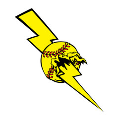 Softball lightening bolt vector