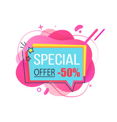special offer 50 percent off price cut banner vector image