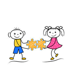 stickman boy and girl holding puzzle icons vector image