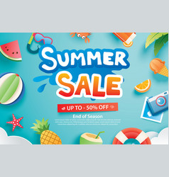 summer sale with paper cut symbol and icon vector image