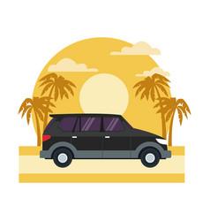 suv sport vehicle on sunset landscape vector image
