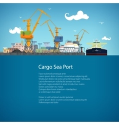 Tanker in a Cargo Seaport and Text vector image