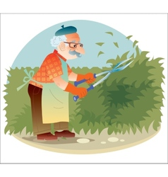 The old gardener working in the garden cutting the vector image