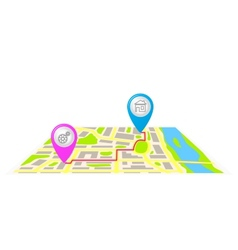 The route on the map of the city vector