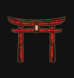 traditional japanese red torii gate concept vector image