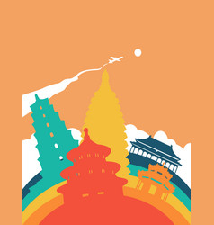 Travel china world landmark landscape vector