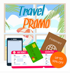 travel promo discount coupon layout with text vector image