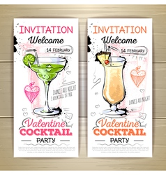 Valentine cocktail party poster Invitation desig vector